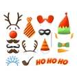 Christmas Party set Glasses hats mustaches vector image vector image