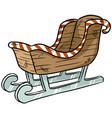 christmas sleigh sticker doodle vector image