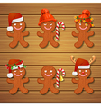 collection of gingerbread man Christmas cookies vector image