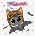cute bat in a pilot hat vector image