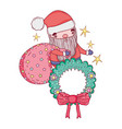 cute christmas santa claus with bag vector image vector image