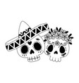 day dead skull couple with hat and flowers vector image vector image