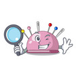 detective pincushion with a character needles icon vector image vector image