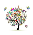 Dragonfly tree sketch for your design vector image vector image