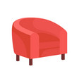 flat icon of cozy armchair with pink vector image vector image