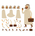 funny business animated arabian character arab vector image vector image