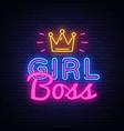 girl boss neon text design template girl vector image vector image