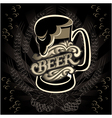 glass of beer on a black background for the menu vector image vector image