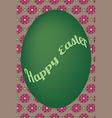 Green egg easter card on violet flower pattern vector image vector image