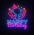 happy birthday neon sign design template vector image vector image