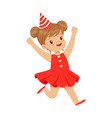 happy smiling baby girl wearing a red dress and vector image vector image