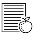 homework paper apple icon outline style vector image