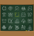 insomnia chalk draw line icons set vector image