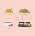 isolated set of food on white vector image