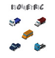 isometric automobile set of suv freight autobus vector image vector image