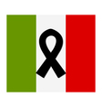 italy flag with mourning ribbon vector image vector image