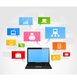 laptop and office network vector image