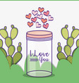 mason jar cactus hearts love decoration vector image vector image