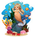 mermaid and fish under sea vector image