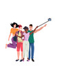 mix race people group taking selfie photo with vector image vector image
