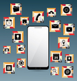 Mobile Phone and Set of Icons vector image