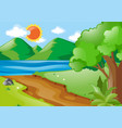 nature scene with river and road vector image vector image
