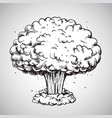 nuclear explosion mushroom cloud drawing vector image