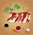 onglet with delicious sauces and spices vector image vector image