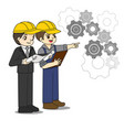 professional engineer discuss about blueprint vector image vector image
