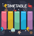 school timetable with undersea creatures vector image vector image