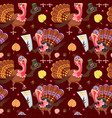 seamless pattern cartoon thanksgiving turkey vector image vector image