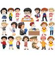 set children in different actions vector image vector image