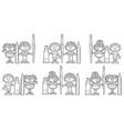 set hand drawn cartoon kids vector image