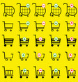 shopping basket set on yellow background vector image vector image