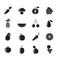 Silhouette Different kinds of fruits and Vegetable vector image vector image