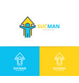 simple man with arrow growth success logo design vector image vector image