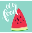 Sliced ripe watermelon and eco food lettering vector image