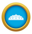 small crown icon blue isolated vector image vector image