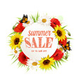 summer sale background with poppies sunflowers vector image