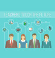 Teachers Team with Educational Icons vector image vector image