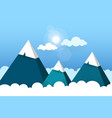 three paper mountains in white clouds sunny day vector image vector image