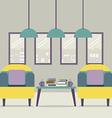Two Sofas With Books On Table vector image vector image