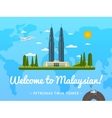 Welcome to Malaysia poster with famous attraction vector image