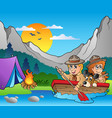 wooden boat with scouts near camp vector image