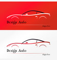 red sport car silhouette logo vector image
