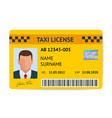 taxi license symbol document vector image