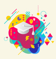 Academic hat on abstract colorful spotted vector image
