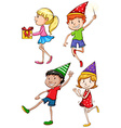 A coloured sketch of the kids celebrating vector image vector image