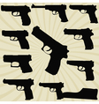 A set of silhouettes of pistols vector image vector image
