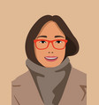 beautiful girl with glasses dressed in coat vector image vector image